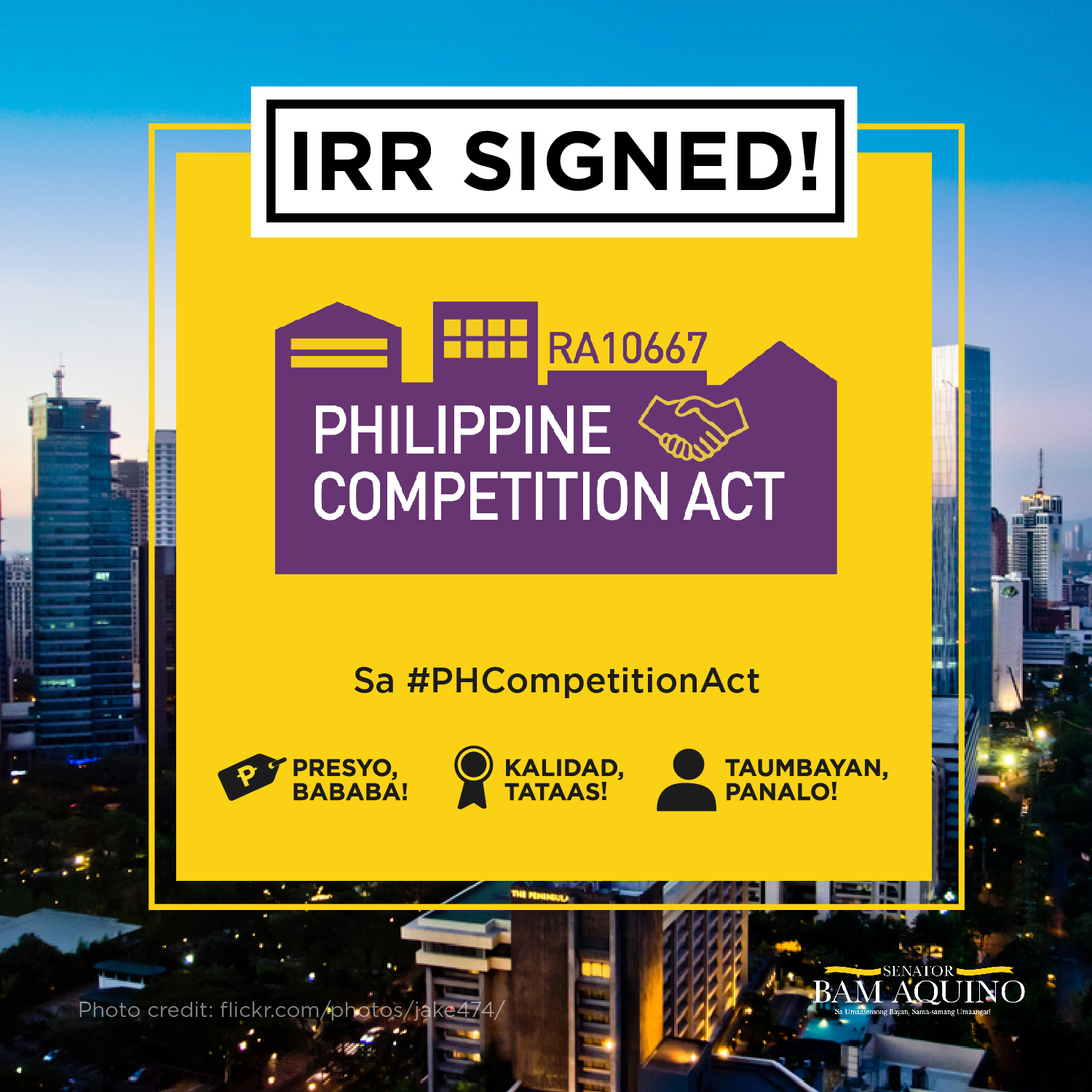 Sen. Bam: Lower prices of goods, services with IRR for PH Competition Act signed